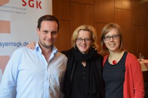 Eric Tylkowski (Vorsitzender SPD Passau West), Natascha Kohnen und Katja Reitmaier (Stadträtin Passau)